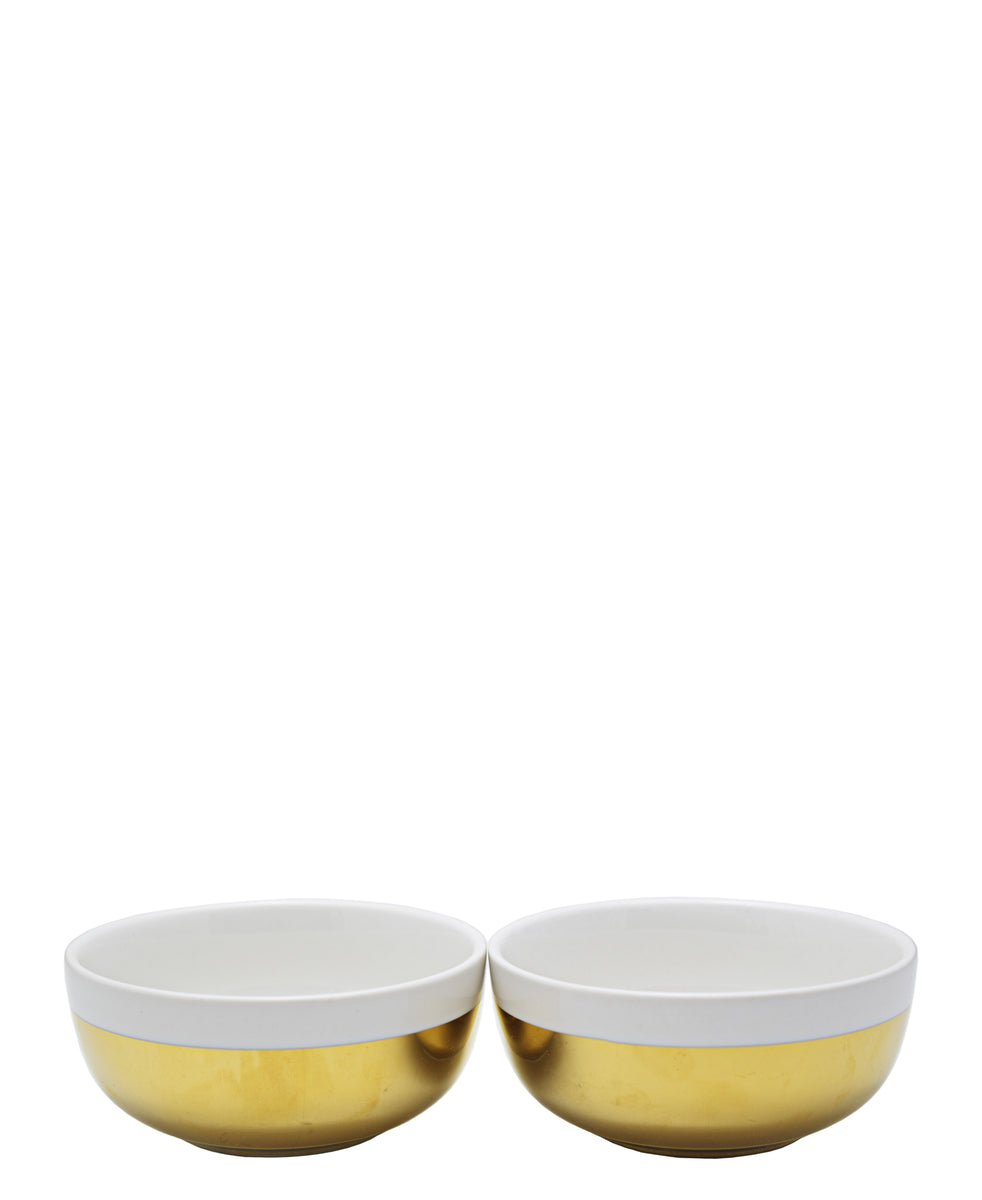 Symphony Adorn Gold Dip Bowls Set Of 2 - White & Gold
