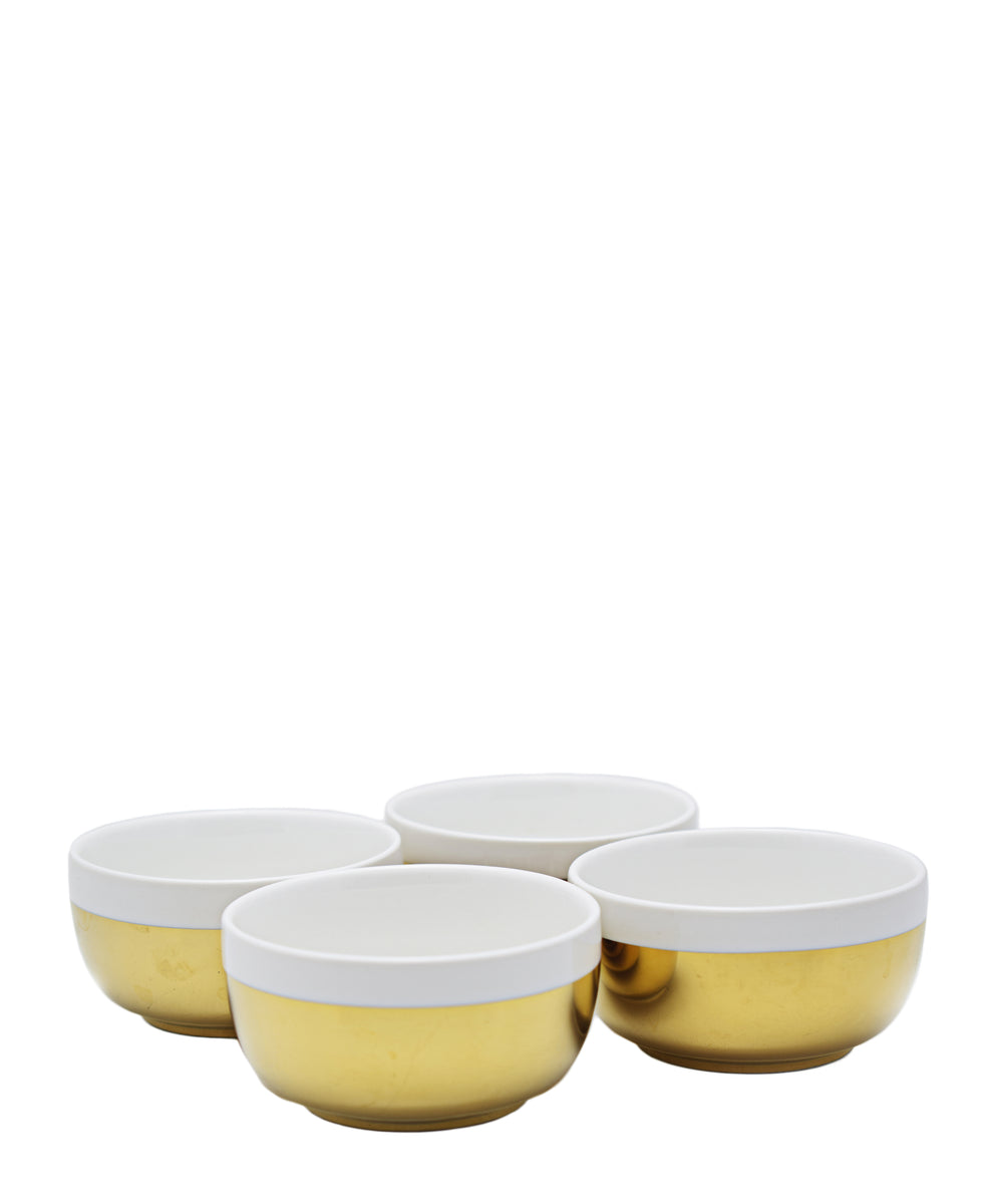 Symphony Adorn Sauce Bowl Set Of 4 - White & Gold