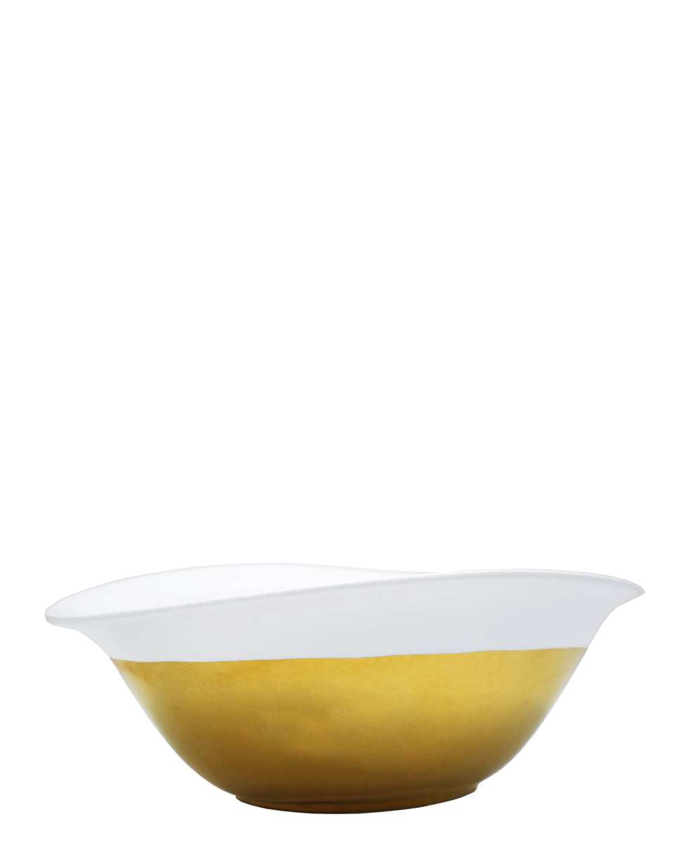 Symphony Adorn Serving Bowl 29cm - White & Gold