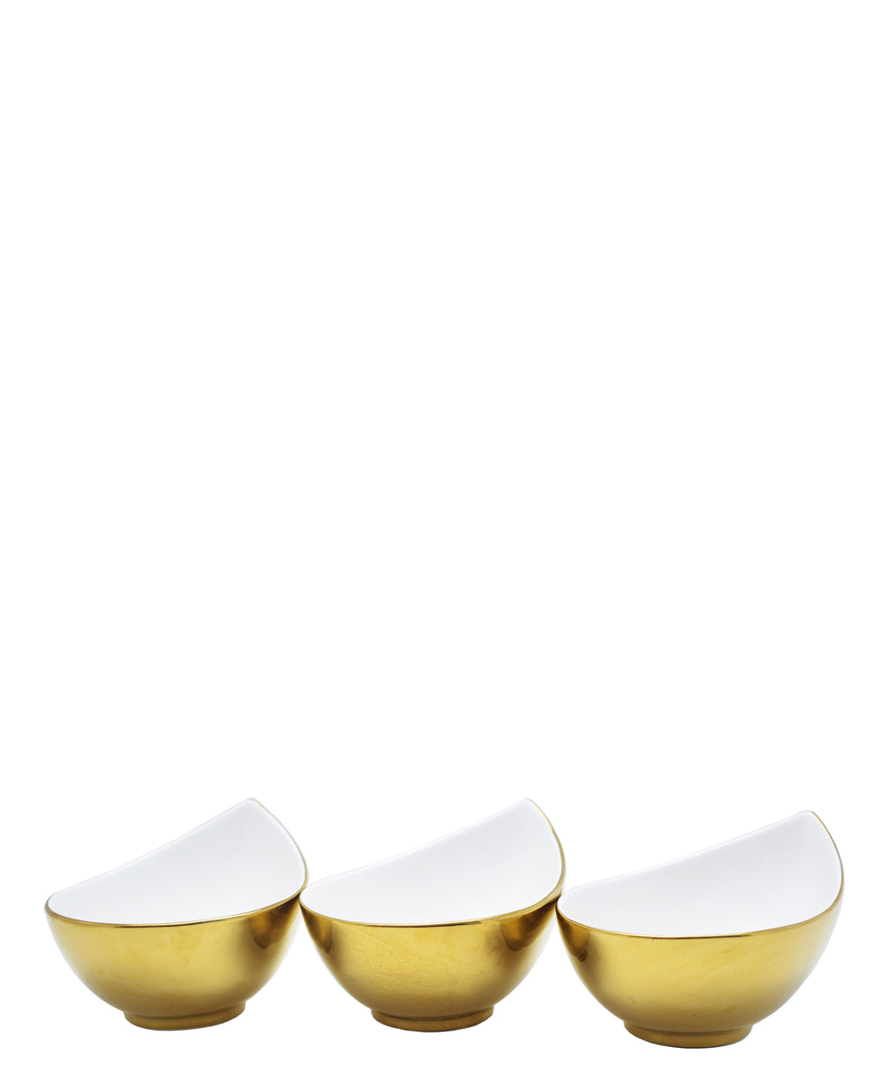 Symphony Adorn Bowl Set Of 3 - White & Gold