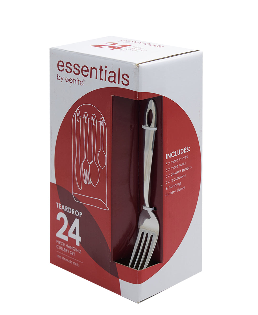 Eetrite 24 Piece Essentials Teardrop Hanging Cutlery Set - Silver