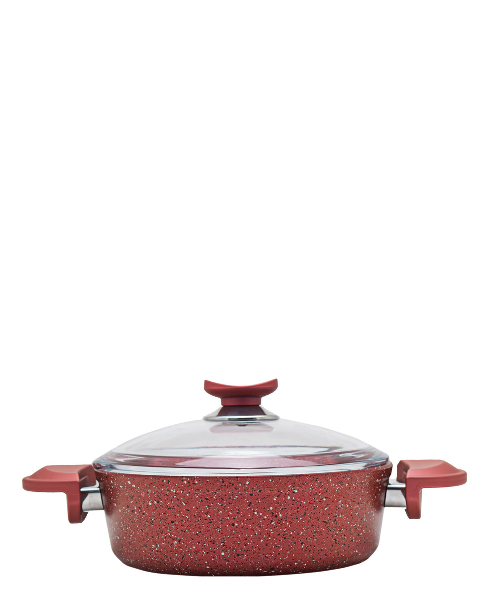 OMS 22cm Shallow Granite Pot - Red