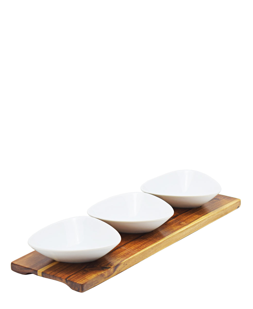 Eetrite 3 Mini Dishes With Tray - White