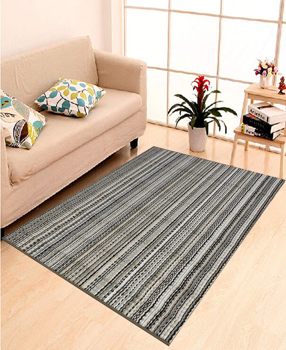 Egyptian Poly Print Carpet 1220mm x 1830mm - Brown Stripes