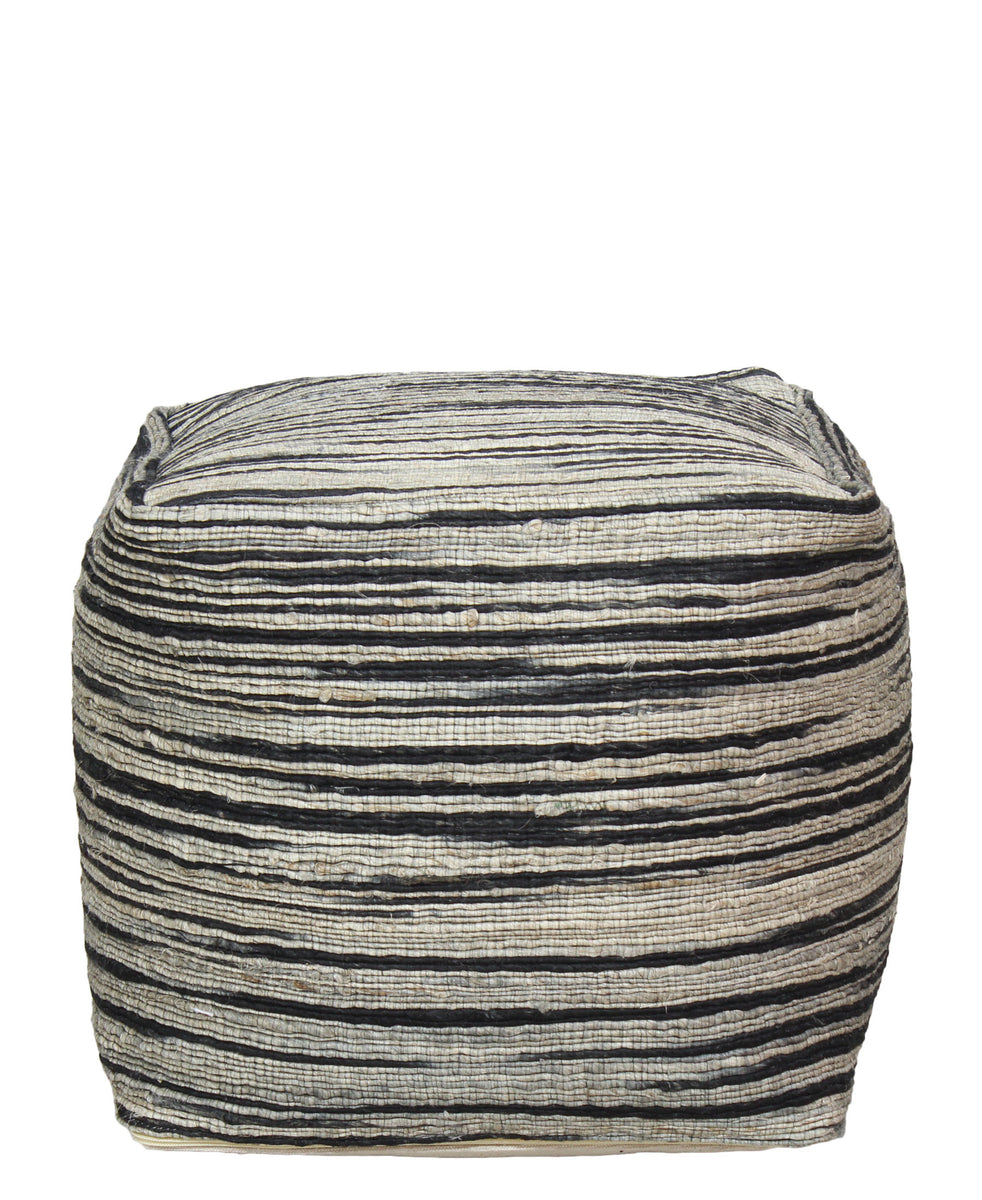 Linen Square Ottoman - White & Black