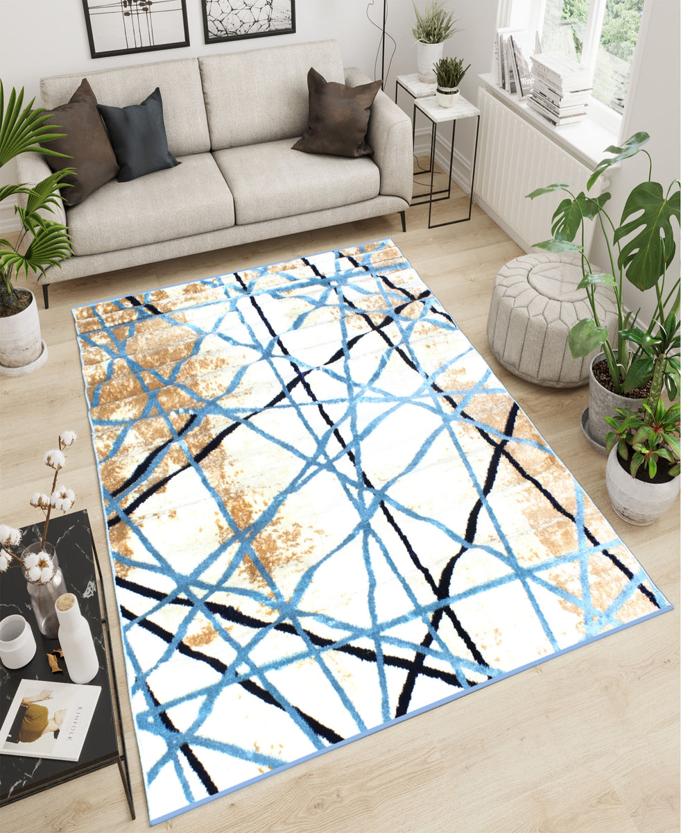 Cape Town Abstract Carpet 1600mm x 2000mm - Blue