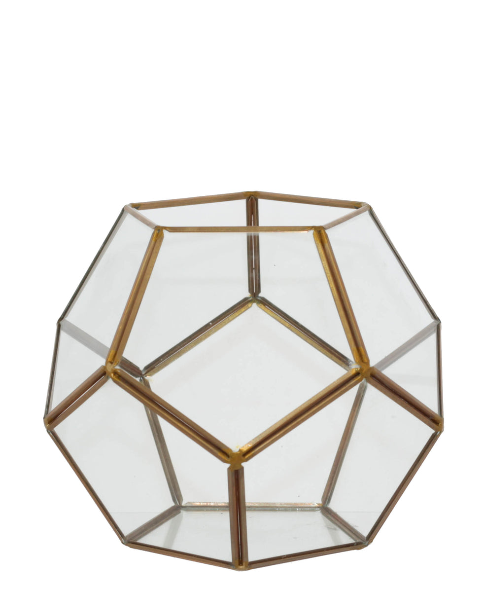 Geo Flower House 18 x 18cm - Gold