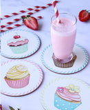Round Cupcake Coaster Set Of 4 - White