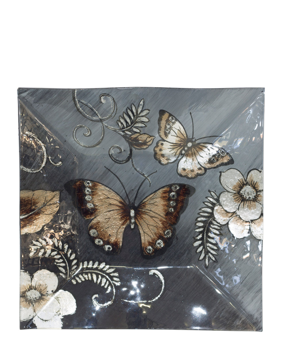 Butterfly Square Platter 25 x 25cm - Black