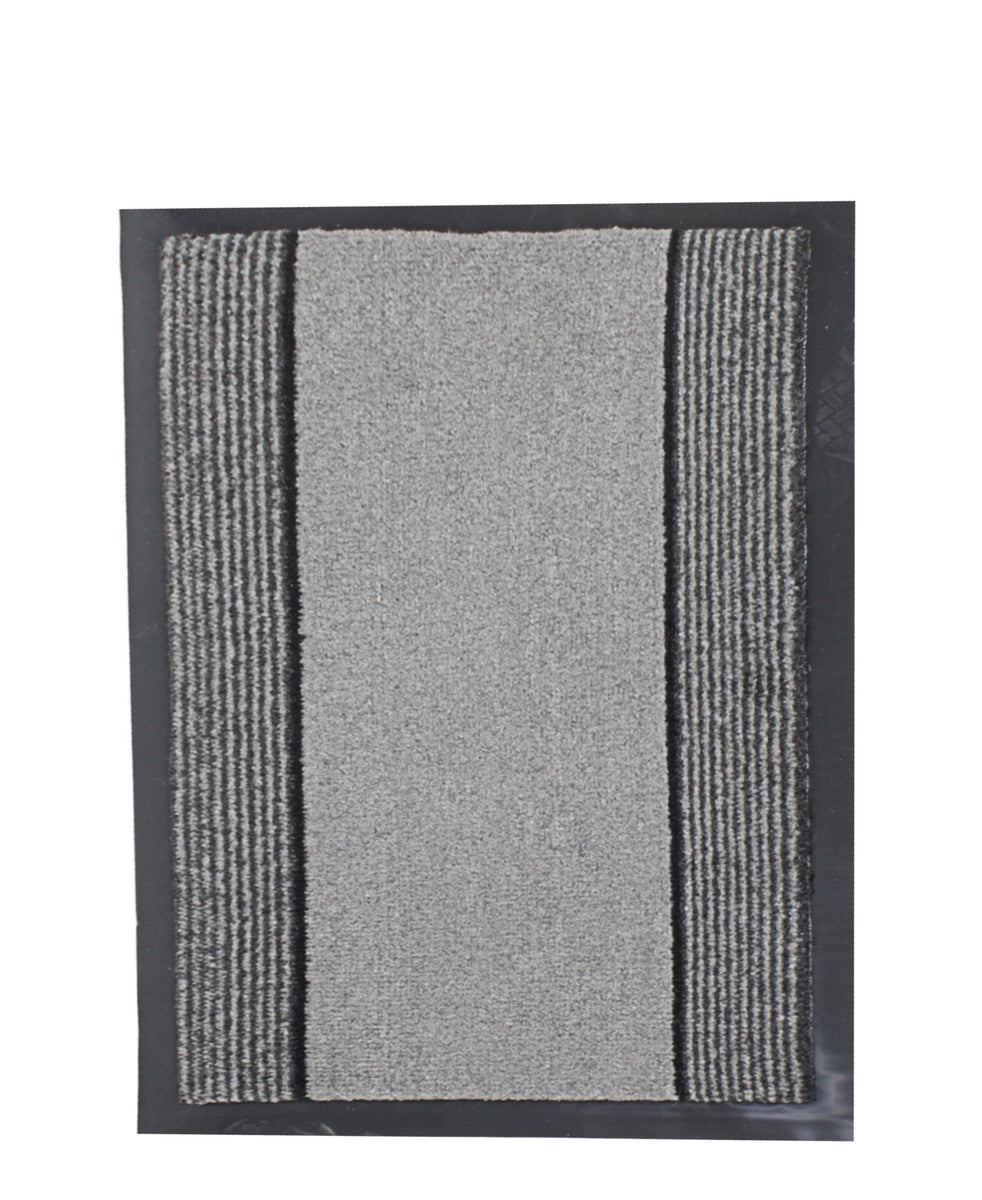 Stefano Rubber Backed Doormat 400mm x 600mm - Grey & Black