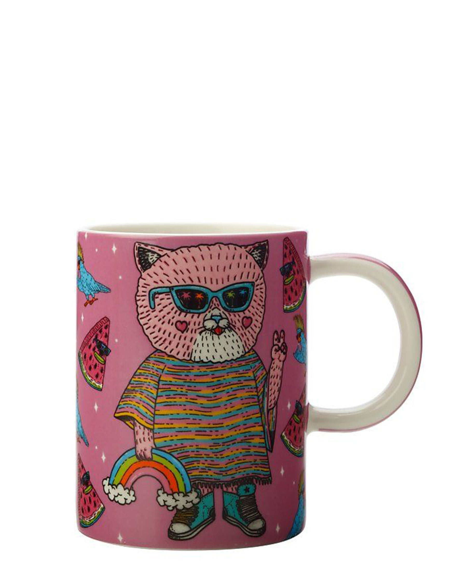 Mulga the Artist Mug 410ML Hippy Cat (: