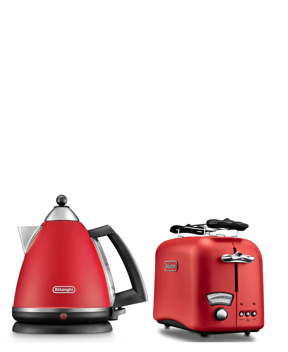 Delonghi Argento Kettle & Toaster Combo - Red