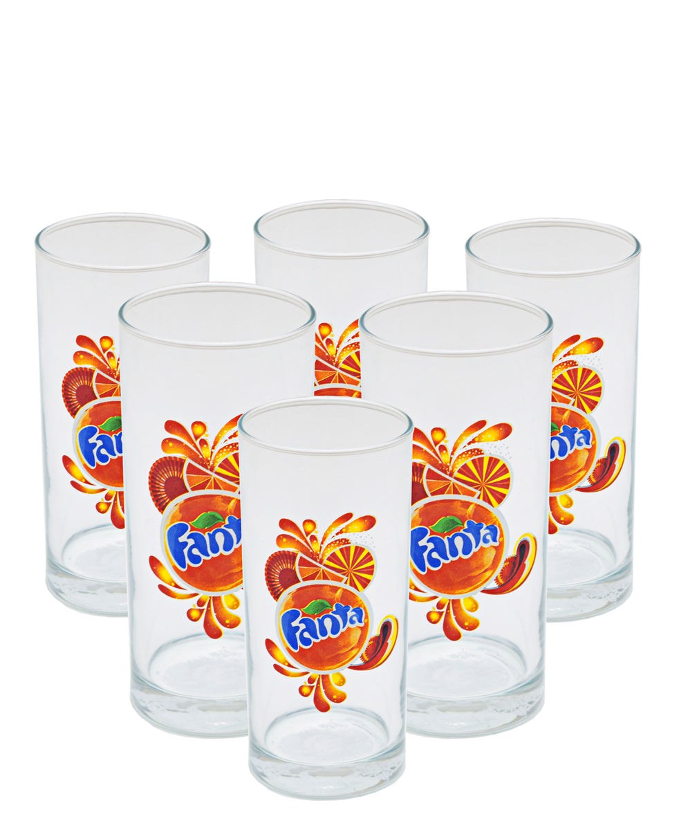 Fanta Tumbler Set Of 6 200ml - Clear With Fanta Print