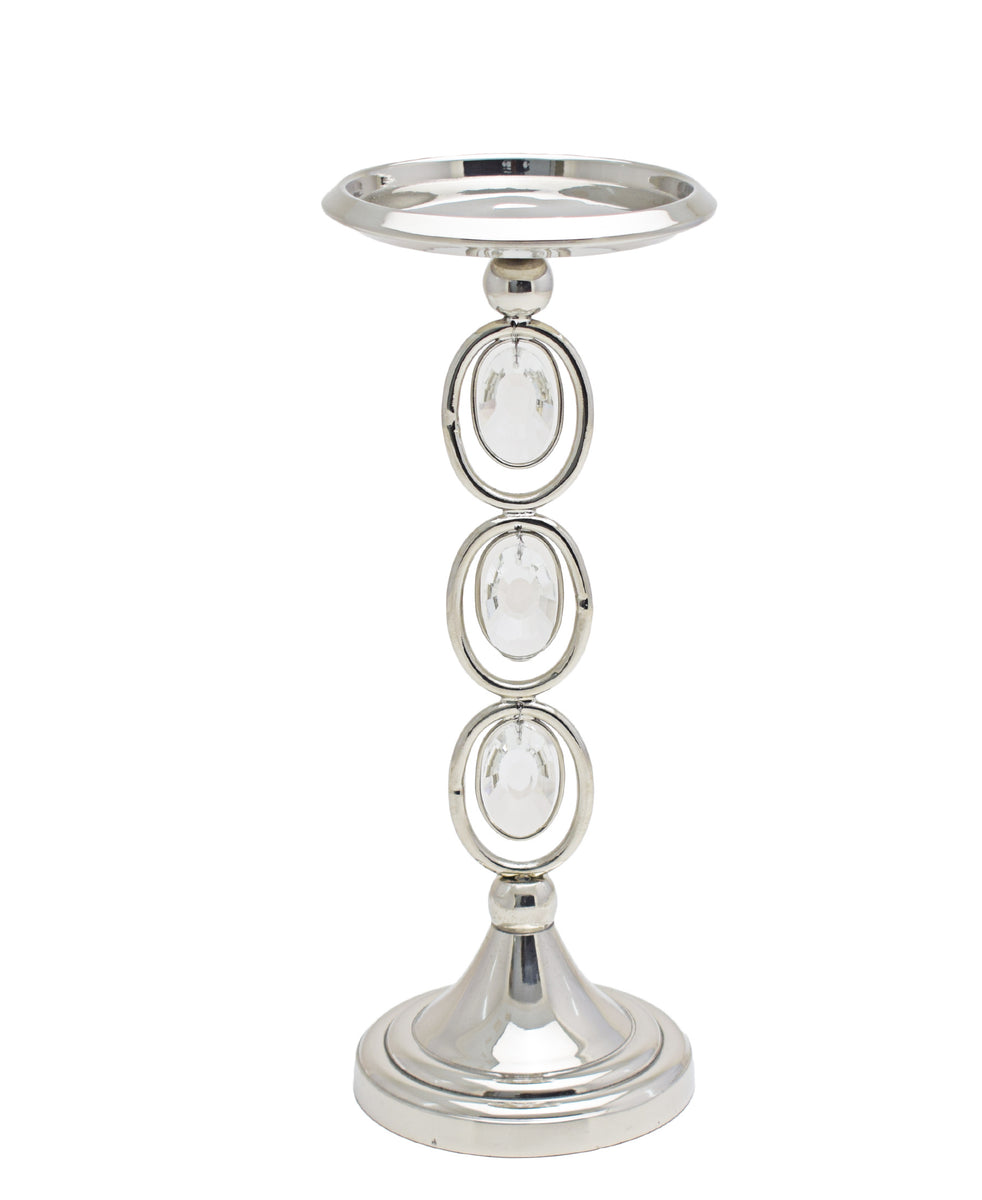 Majestic Candle Holder Crystal Pillar - Silver