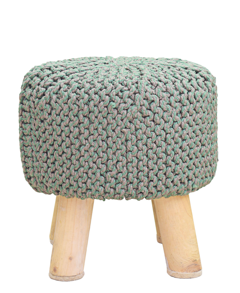 Neo Handmade Stool 340mm - Green & Brown
