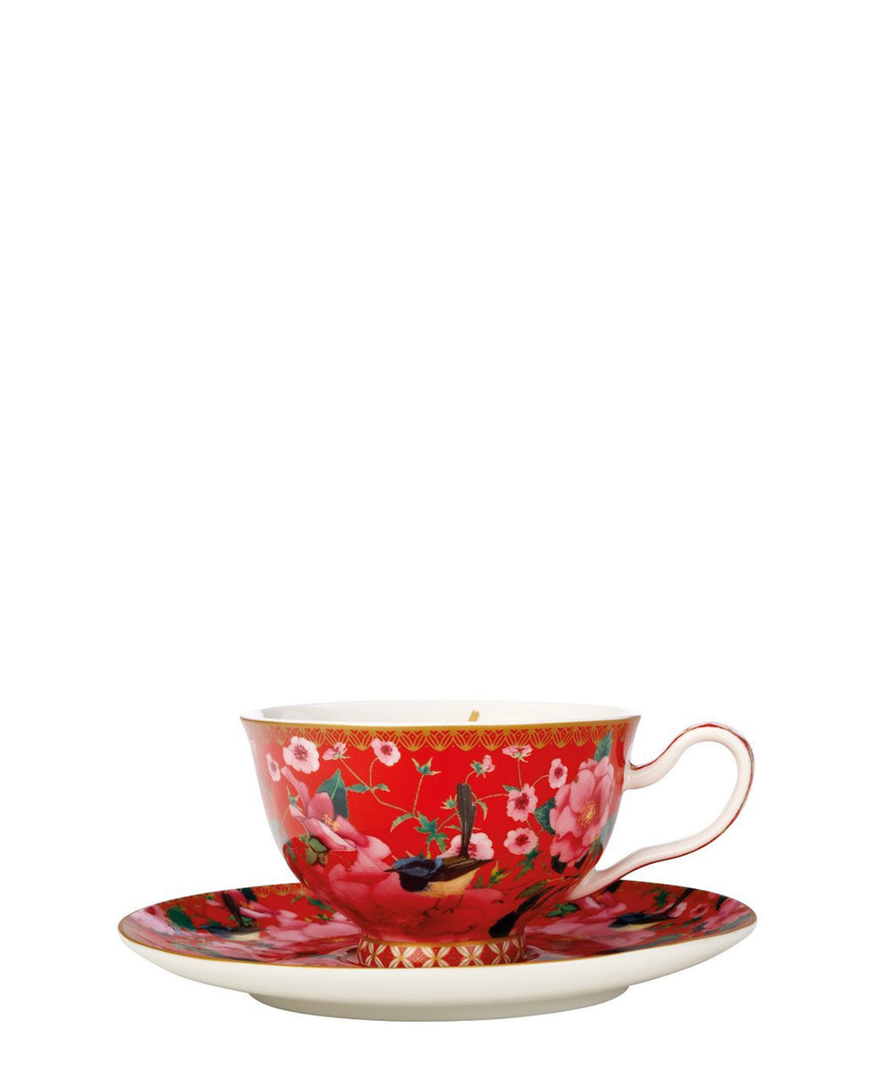 Maxwell & Williams Teas & C's Silk Road Footed Cup & Saucer 200ML Cherry Red Gift Boxed