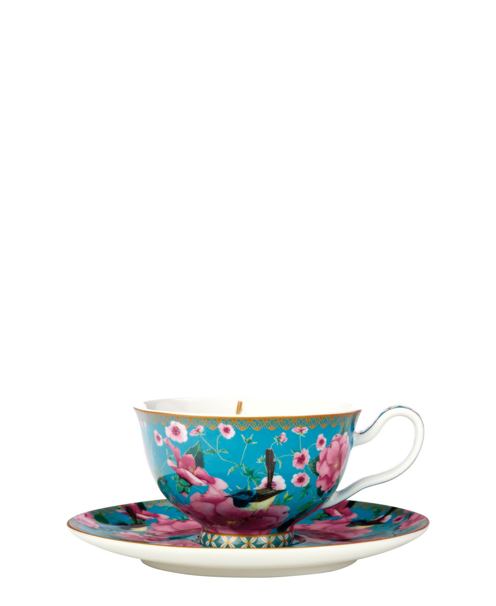 Maxwell & Williams Teas & C's Silk Road Footed Cup & Saucer 200ML Aqua Gift Boxed