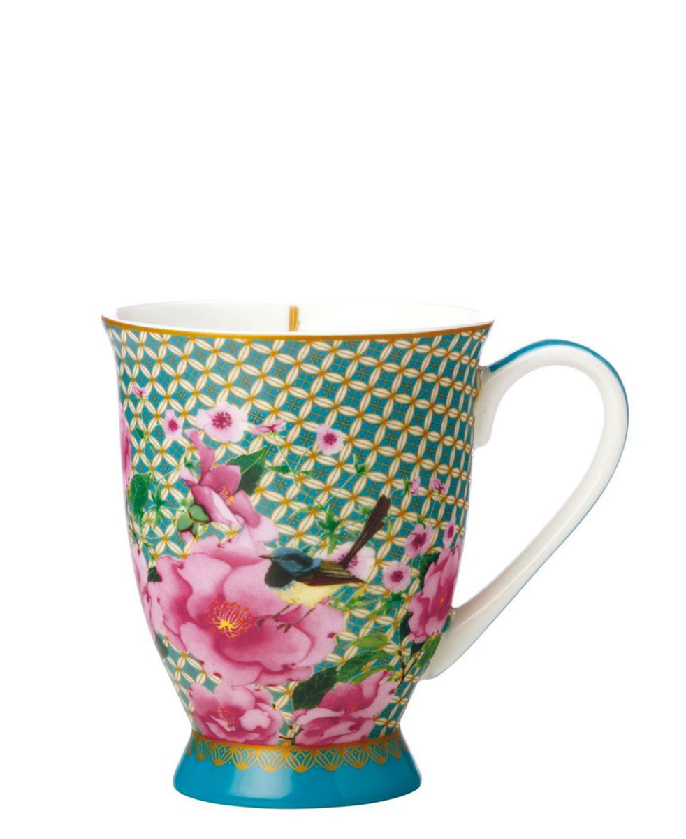 Maxwell & Williams T's and C's Silk Road Footed Mug 300ml - Green & Pink