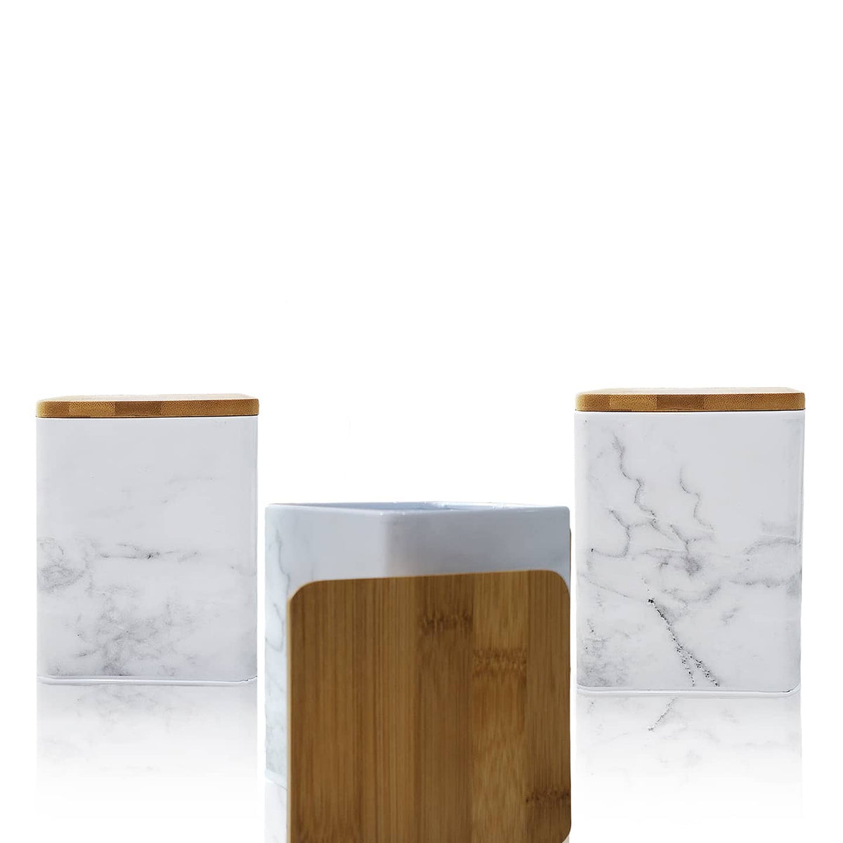 Aqua Storage Container With Bamboo Lid - White Marble