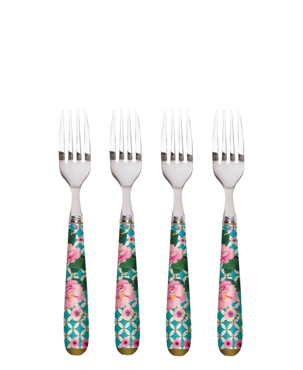 Maxwell & Williams Teas & C's Silk Road Cake Fork Set of 4 Aqua Gift Boxed