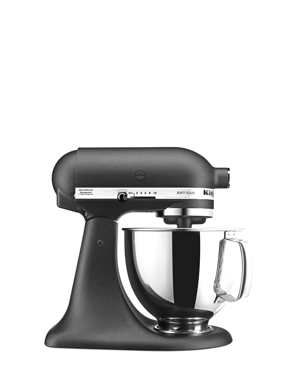KitchenAid Artisan 4.8LT Stand Mixer + Free S/S Bowl - Cast Iron Black