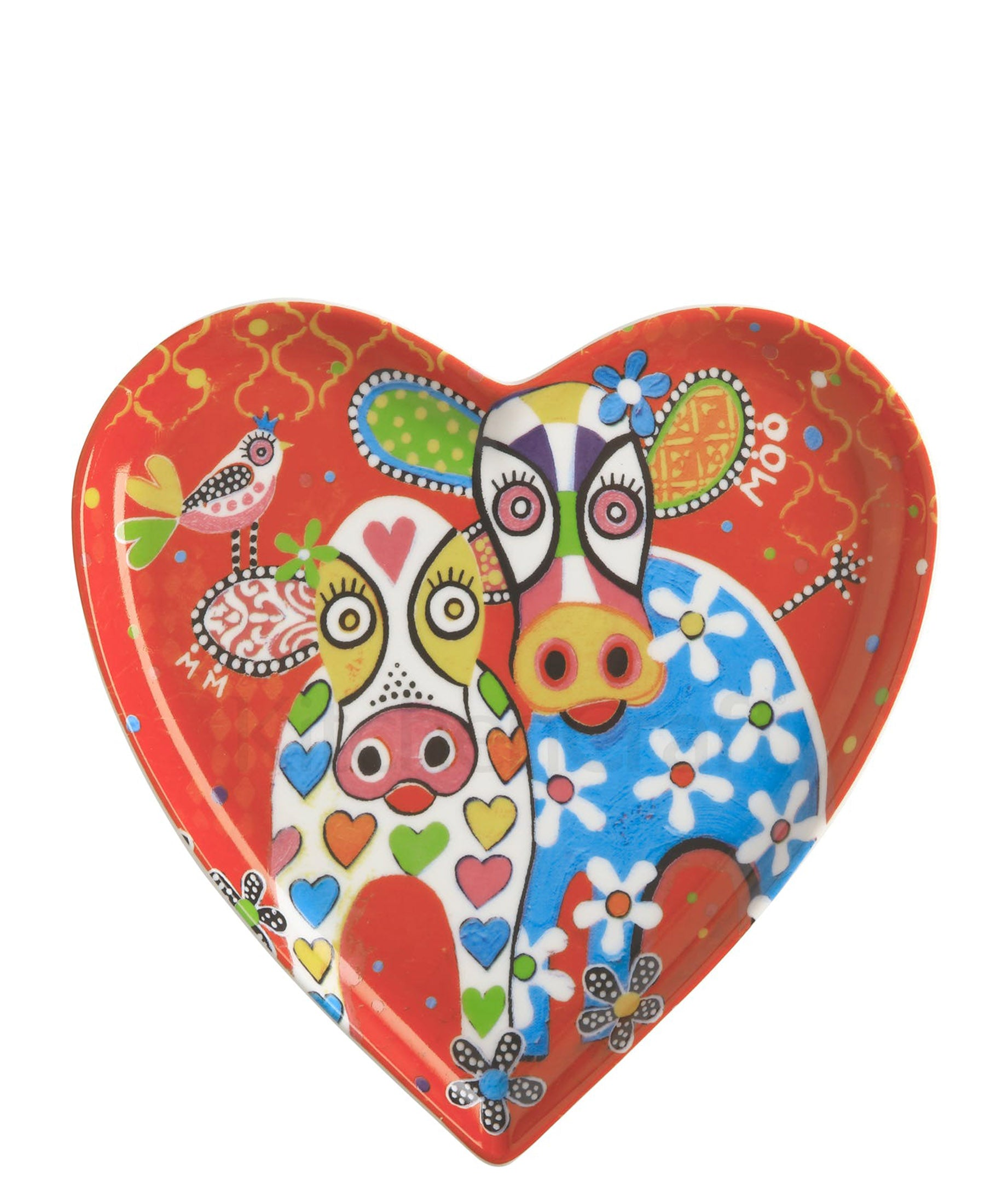 Love Hearts Cow Plate 15.5cm