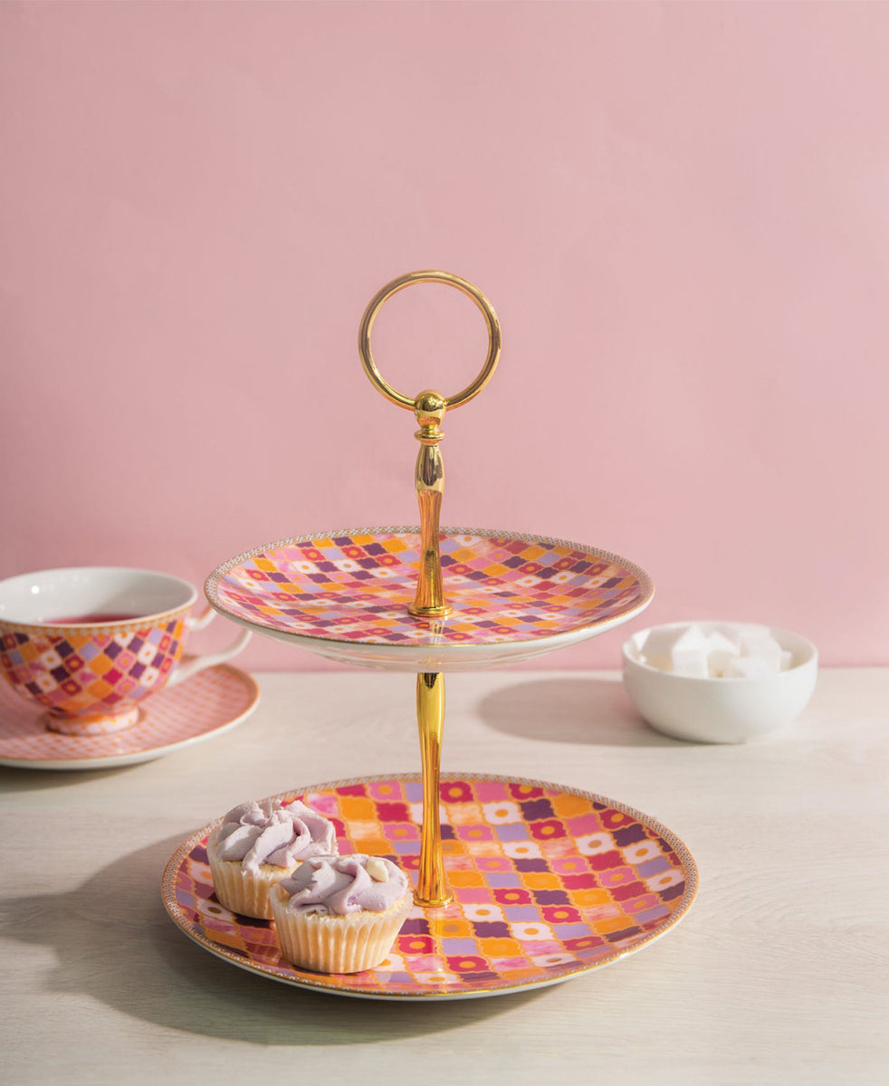 Maxwell & Williams Teas & C's Kasbah Rose 2 Tiered Cake Stand Gift Boxed - Rose