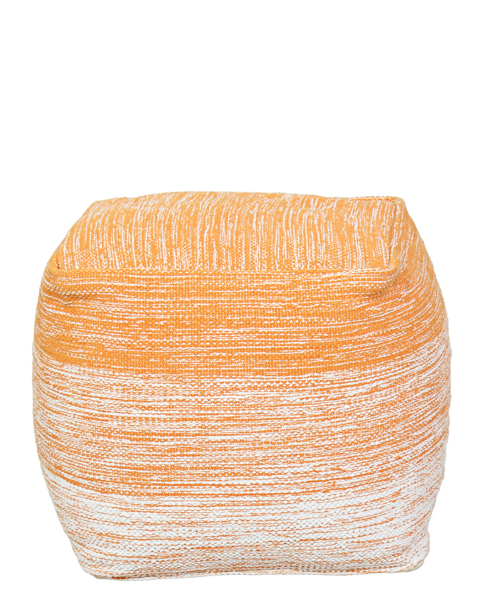 Linen Square Ottoman - Orange
