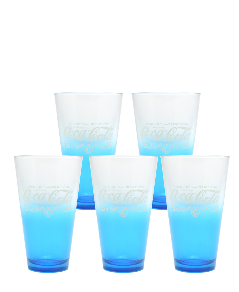 Retro Coca Cola Glass Set Of 5 - Blue
