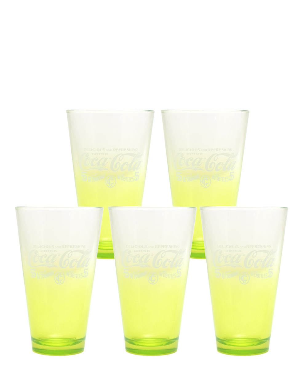 Retro Coca Cola Glass Set Of 5 - Lime