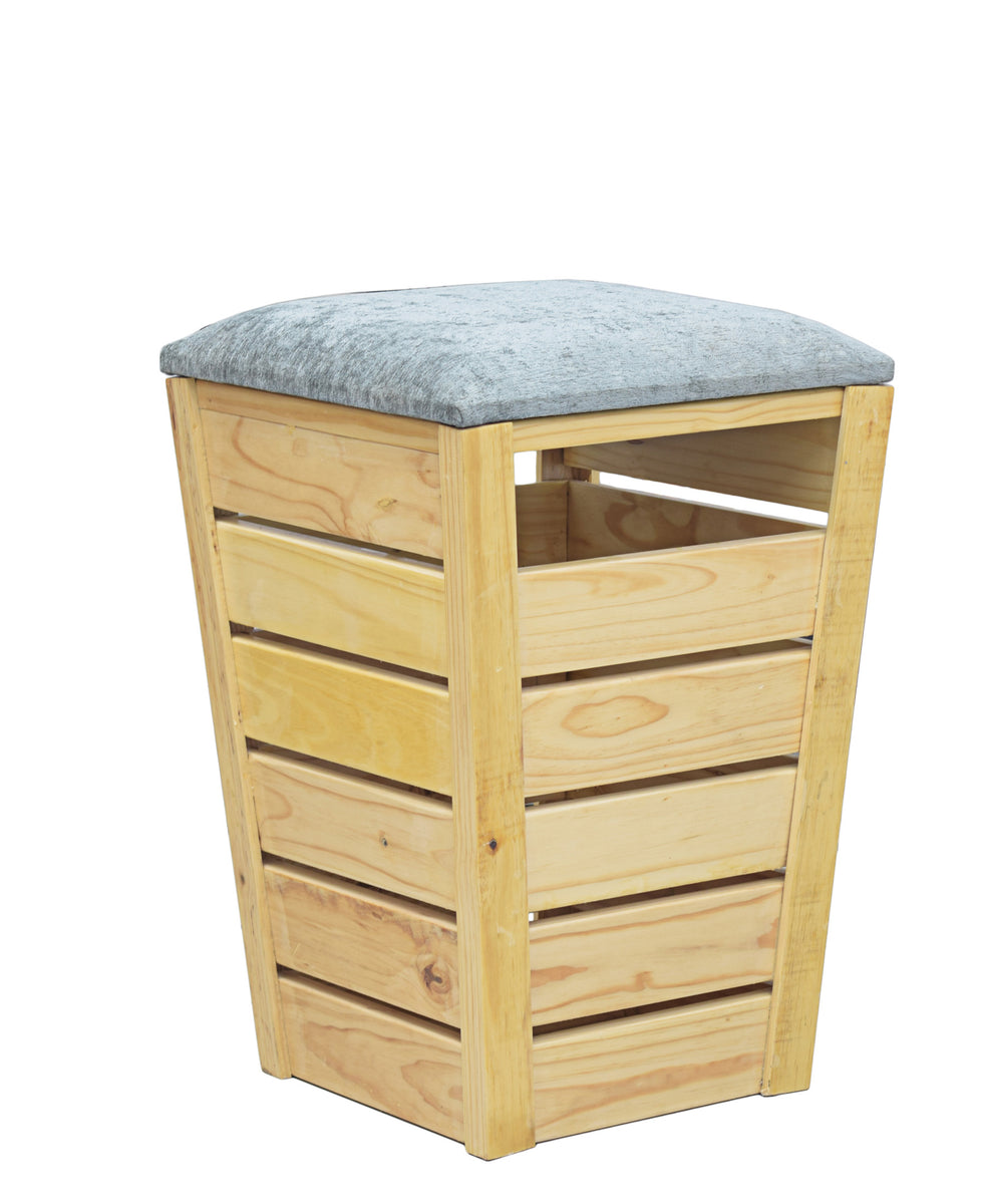 Wooden Laundry Bin - Brown
