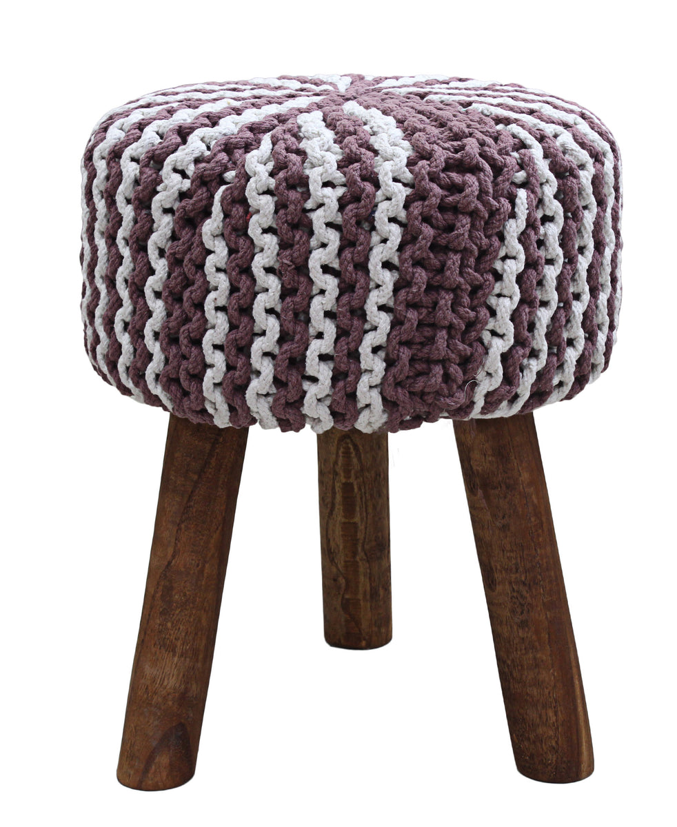 Neo Handmade Stool 470mm - White & Purple