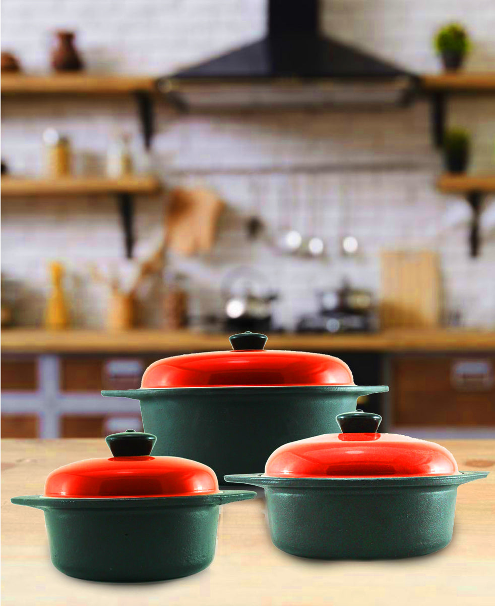 Cordon Bleu 6 Piece Cast Iron Cookware Set - Red