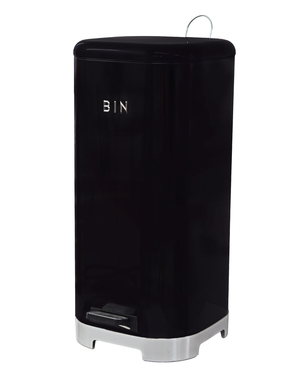 Retro Pedal Dust Bin 30LT - Black