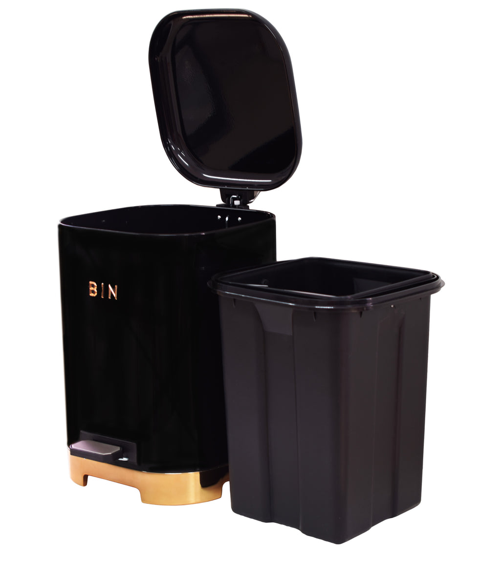 Retro Pedal Dust Bin 20LT - Black & Rose Gold