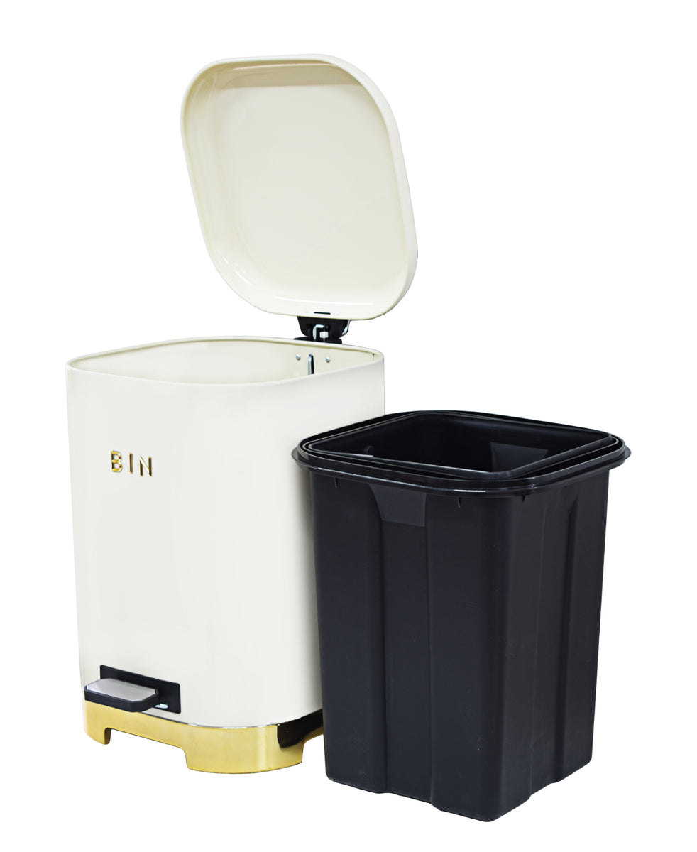 Retro Pedal Dust Bin 20LT - Cream & Gold