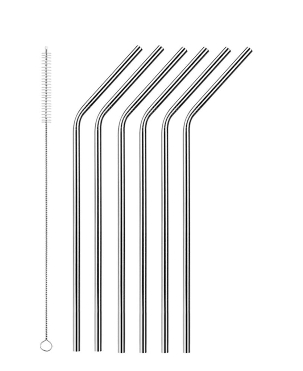 Aqua S/S Curved Straw 12pc With Brush - Silver