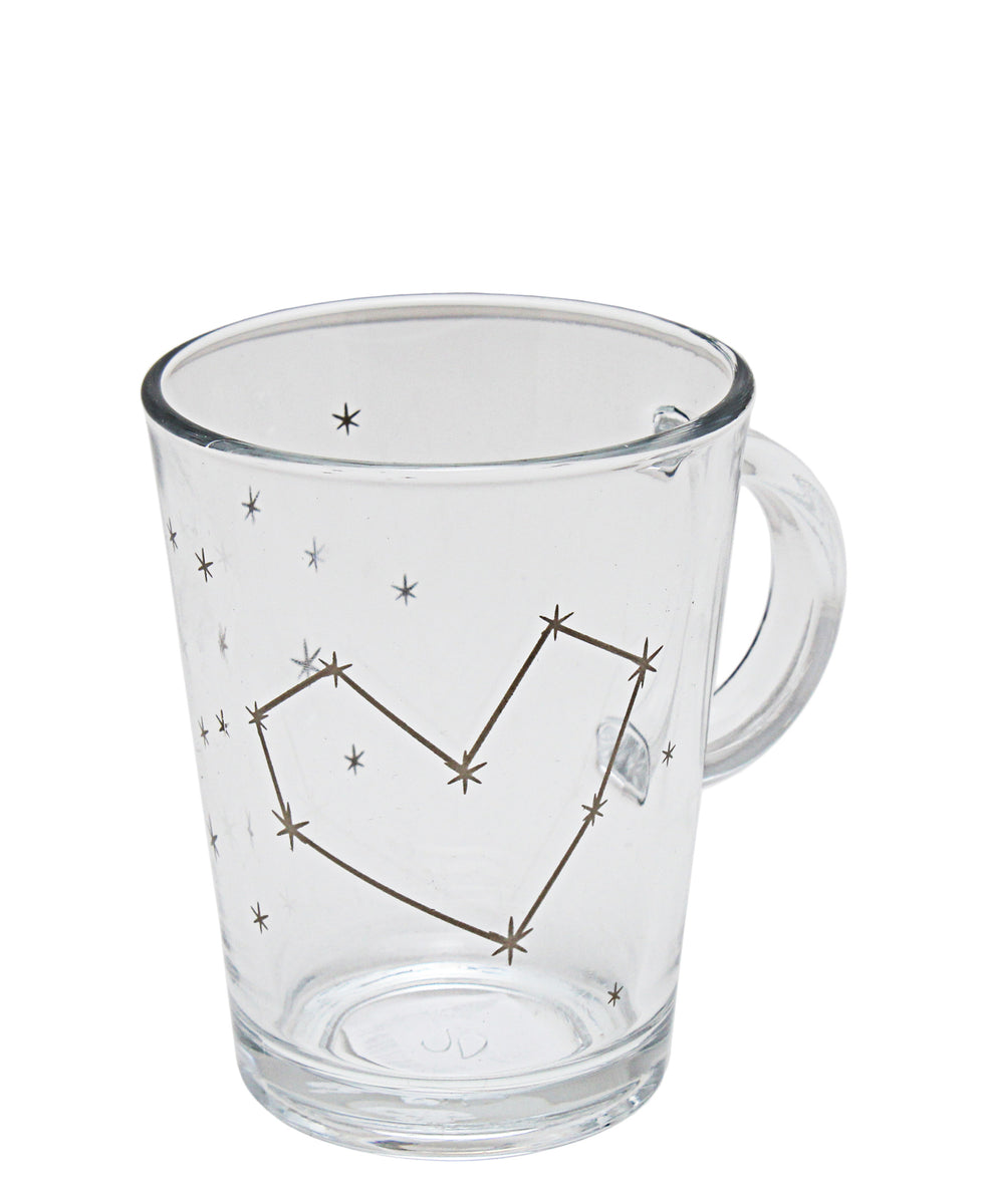 Pasabahce Star Heart Mug 300ml - Clear With Gold Print
