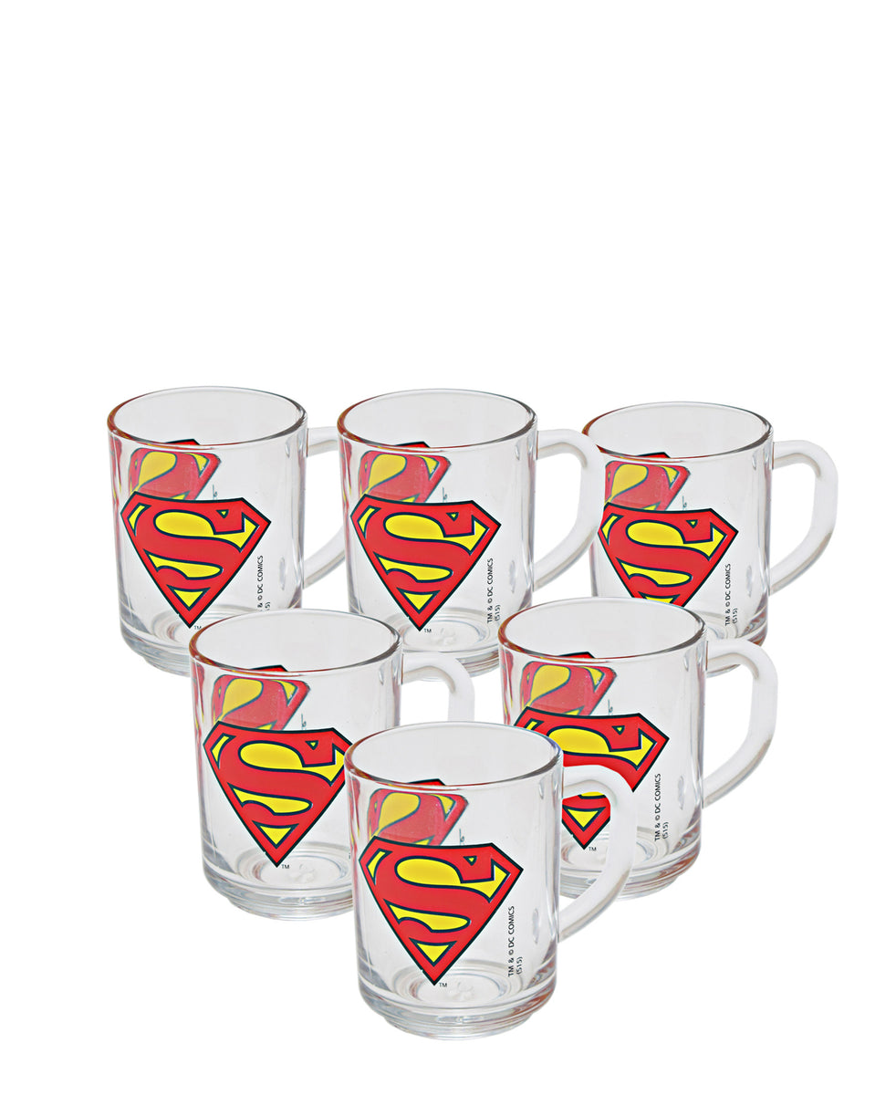 Superman Mug Set Of 6 200ml - Clear With Superman Print