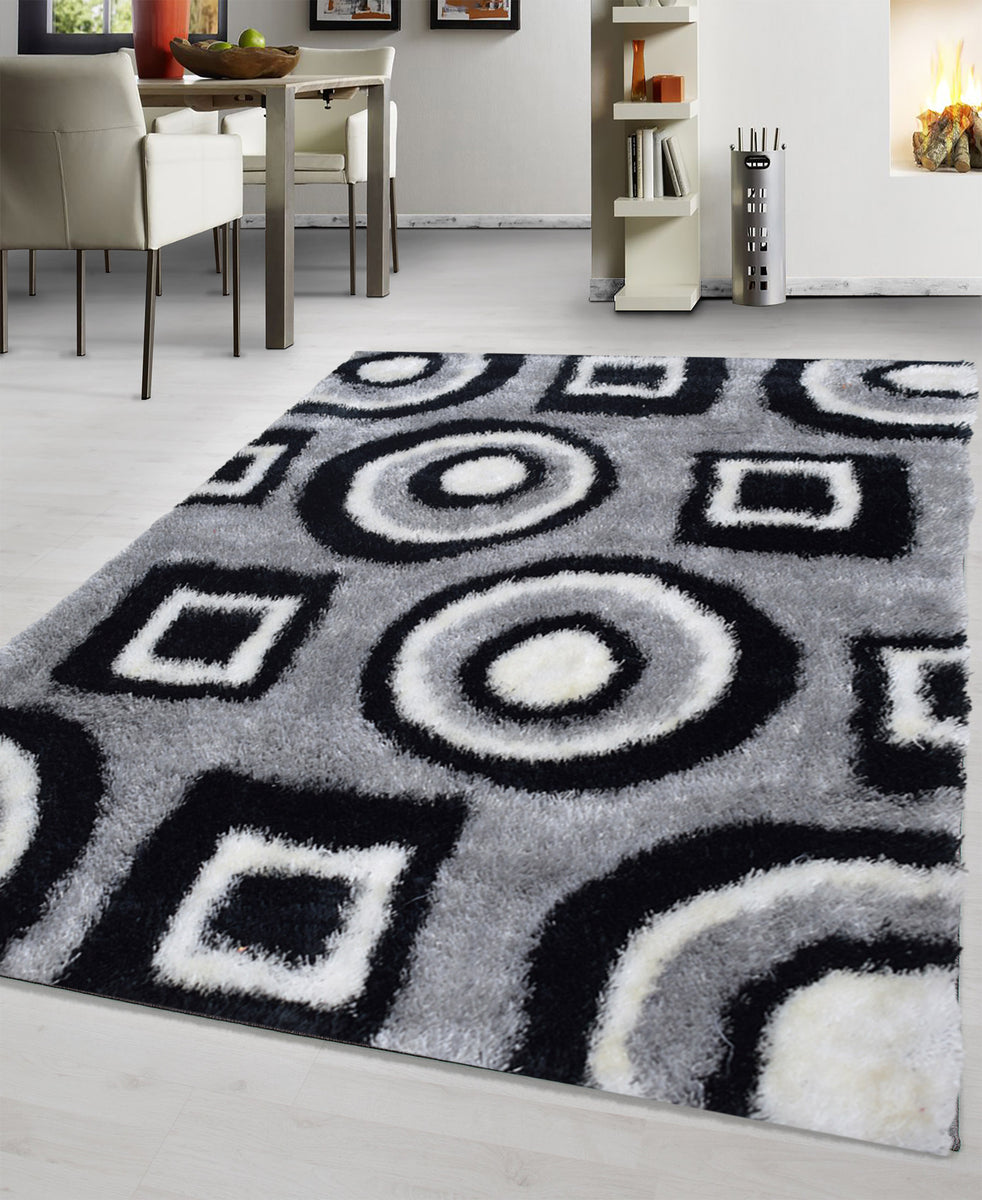 Shaggy Maze Carpet 1600mm x 2200mm - Black