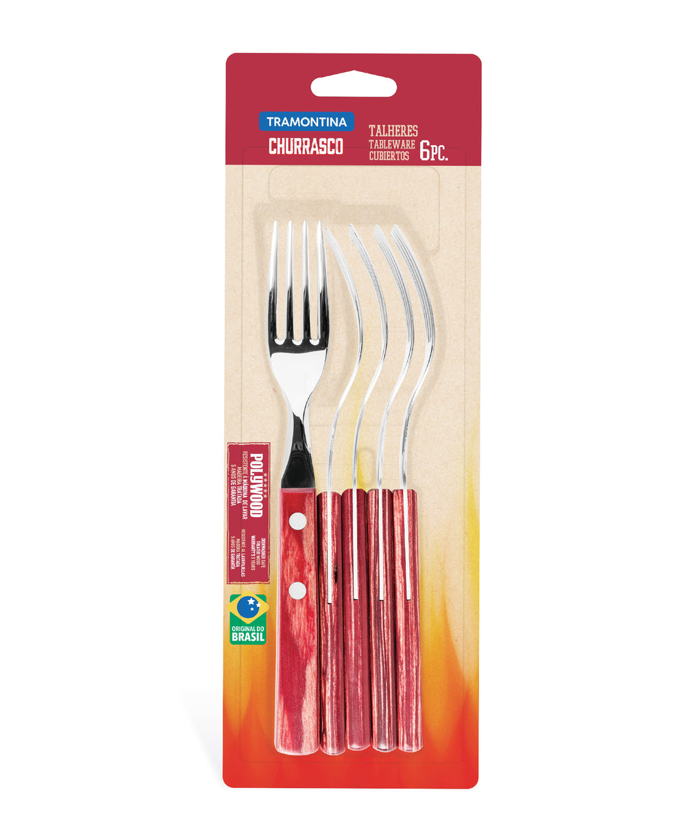 Tramontina 6 Piece Table Forks - Red