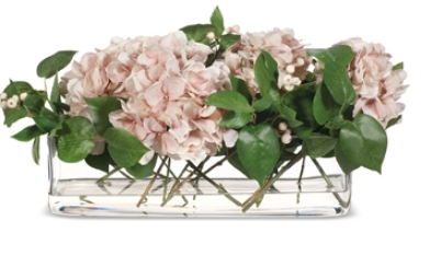 Artificial flowers with hydrangea blooms