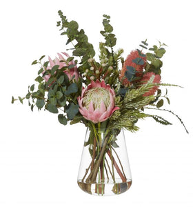 Protea, Banksia and Eucalyptus Floral Arrangement in Glass Vase