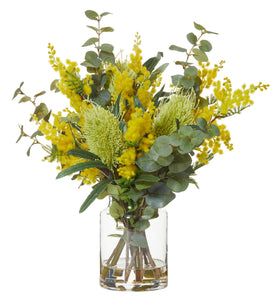 Yellow Wattle and Banksia Floral Arrangement