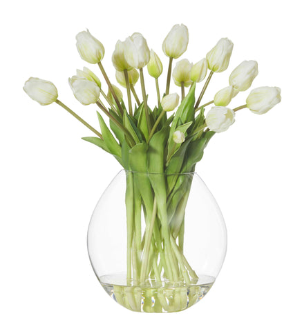 Tulip Bouquet in Cannonball Vase - White