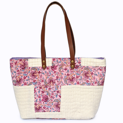 Pink and Cream Printed Tote