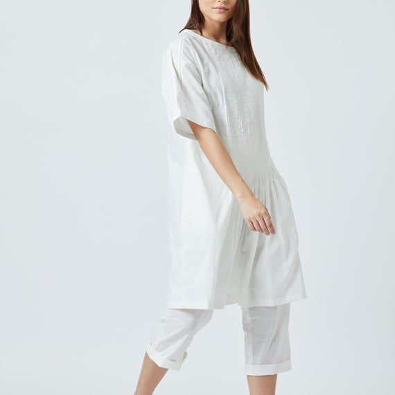 Jean White Pleated Tunic