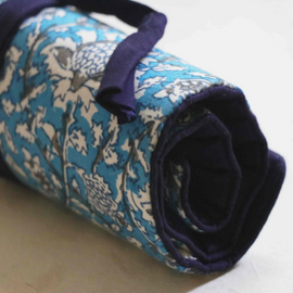 Blue Kalamkari Roll-Up Case