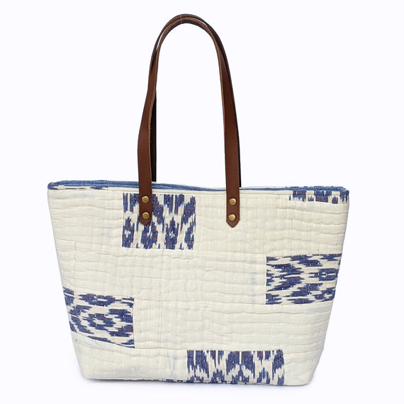 White and Blue Patched Tote