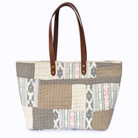 Cream and Beige Printed Tote